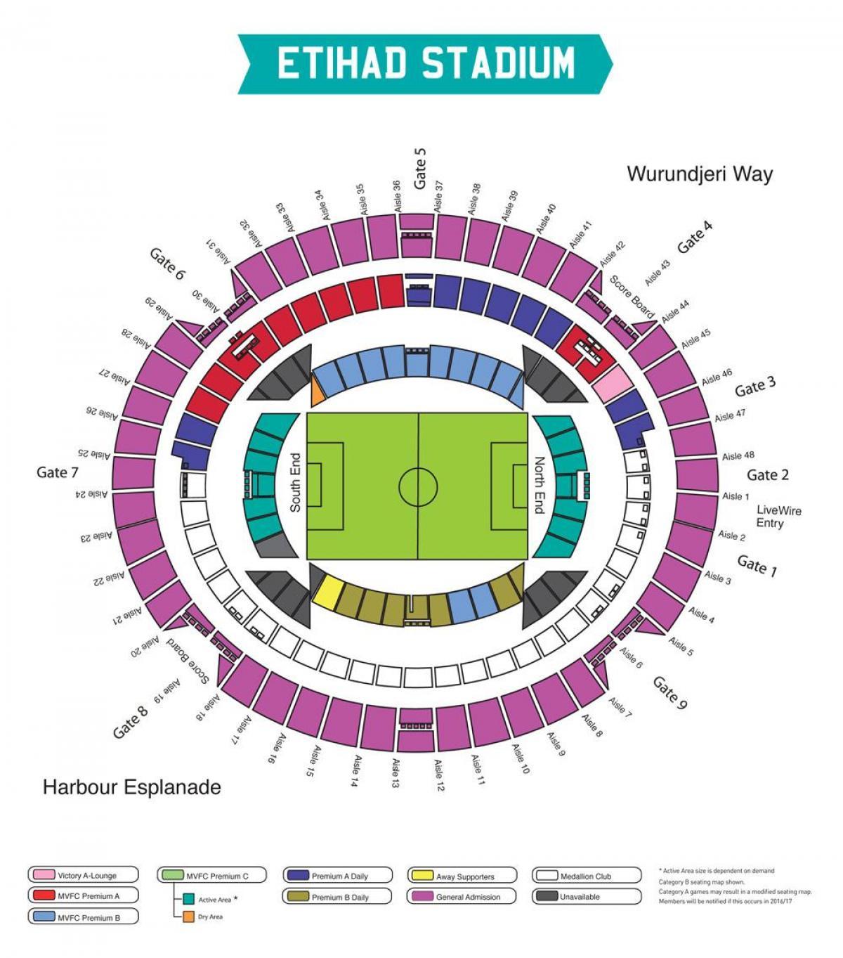Etihad stadium Melbourne Karte - Karte der Etihad-Stadion in Melbourne  (Australien)