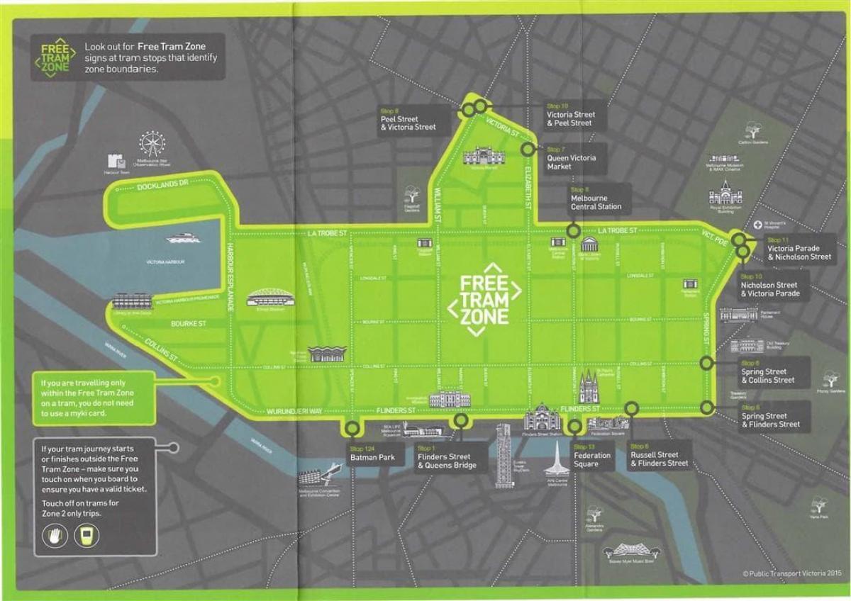 Melbournedie Kostenlose tram map Melbourne die Kostenlose tram